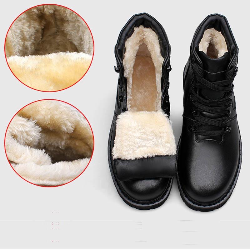 YIQITAZER 2019 Cow Muscle Soles Ekte skinnsko Militærstøvler for menn, Vinter Mans Ankel Amry Boots Snow Shoes Plus Size 48