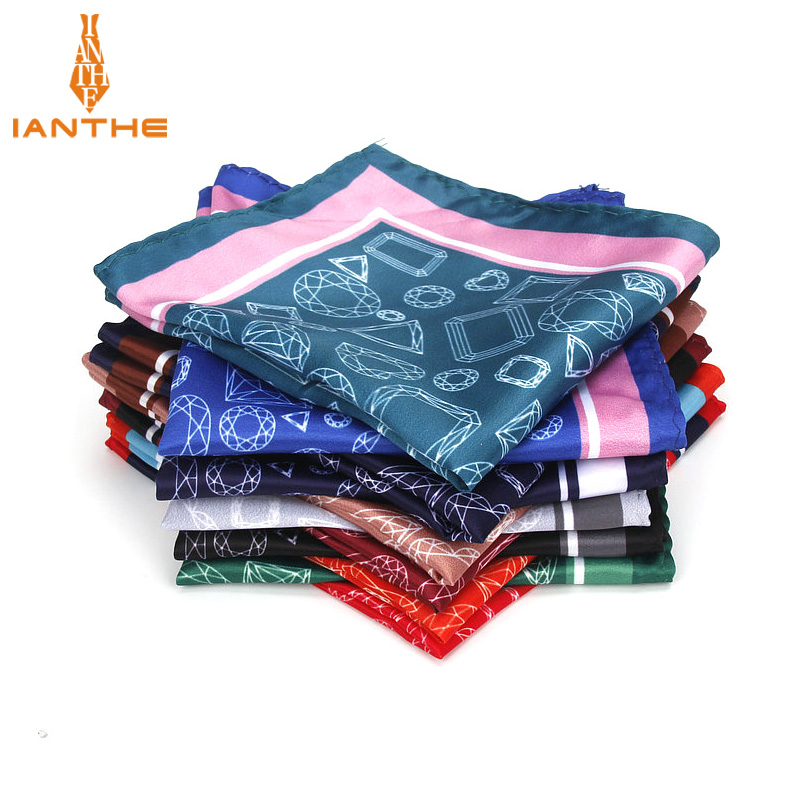 Men's Handkerchief Vintage Geometric Pocket Square Soft Silk Hankies Wedding Party Business Hanky Chest Towel Gift 24*24CM