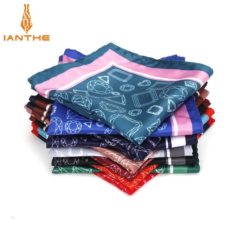 Men's Handkerchief Vintage Geometric Pocket Square Soft Silk Hankies Wedding Party Business Hanky Chest Towel Gift 24*24CM