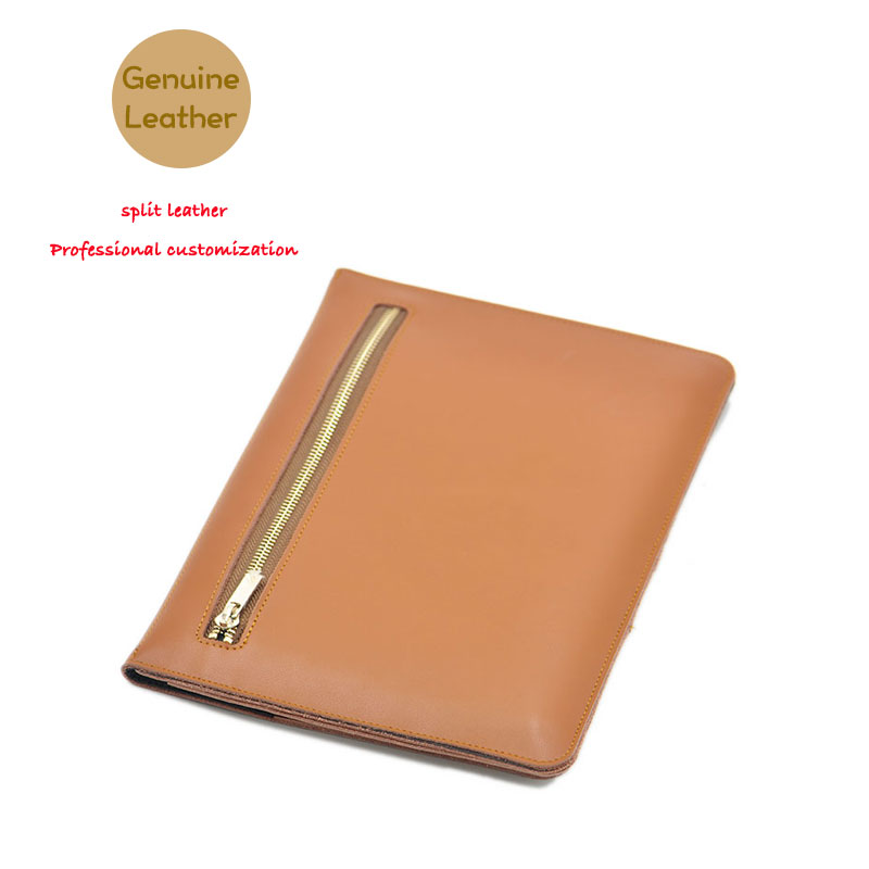 Multi-function briefcase style super slim sleeve pouch cover,Genuine leather tablet sleeve case for iPad Pro 12.9 inch