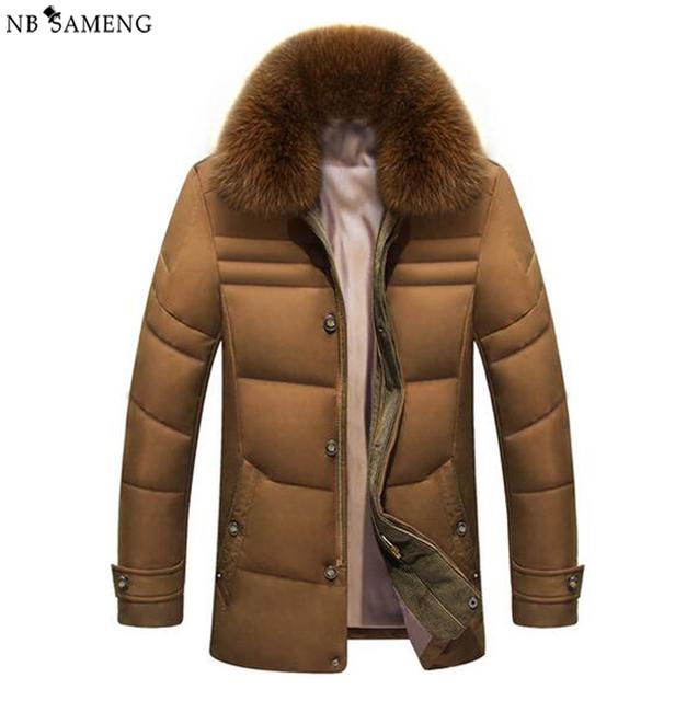 Hombres Chaqueta de invierno 2017 Chaquetas Para Hombre Sólido de la Alta Calidad Caliente Abrigo de Pato blanco Abajo Parkas Con Capucha de Piel de Zorro Real 13W0235