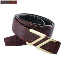 купить Free Shipping 100% Genuine Male Strap Leather Belts Fashion Crocodile Pattern Design Casual Belt Brown Gold Personalized Buckle по цене 910.32 рублей