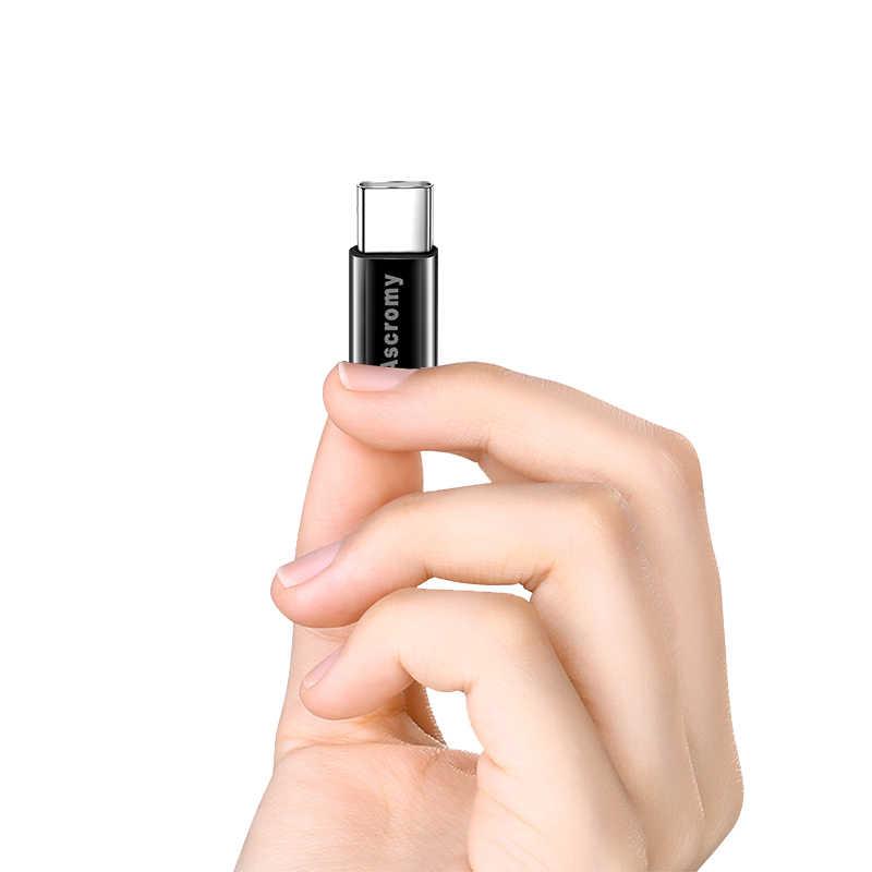 Ascromy ประเภท C Micro USB Charger Adapter สำหรับ Huawei P20 Lite Xiaomi Redmi หมายเหตุ 7 Pro Samsung S9 S8 oneplus 6 One Plus 6 T USBC