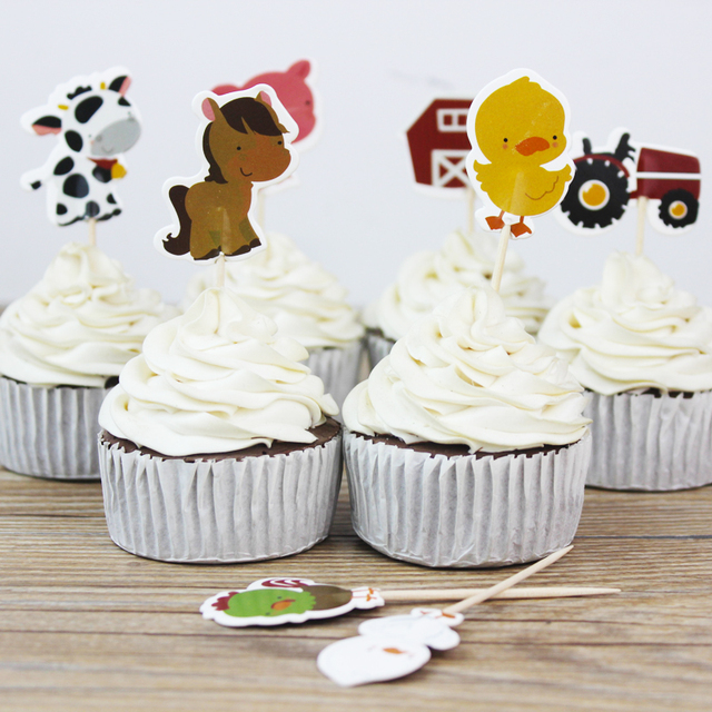 24pcs Farm Cake Toppers Animal Party Cupcake Picks Cases Petting Zoo Kids Birthday Decoration Baby Shower Candy Bar