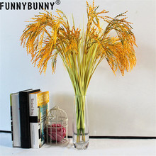 FUNNYBUNNY 5PCS Artificial Golden Wheat Grass Fake Shrubs Plants Faux Plastic Bushes Indoor Outdoor Home Office Garden