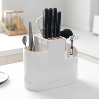 Plastic Wood Knife Holder White Forks Scissors Cutlery Multifunctional Storage Organizer Rack Kitchen Knife Block Accessories