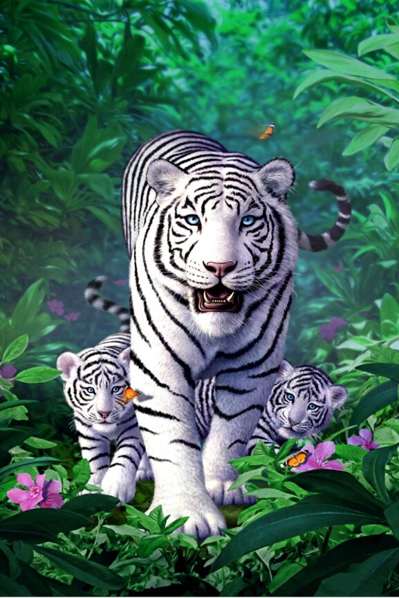 White Tiger Family The Wooden Puzzle 1000 Pieces Ersion  Jigsaw Puzzle White Card Adult Children's Educational Toys