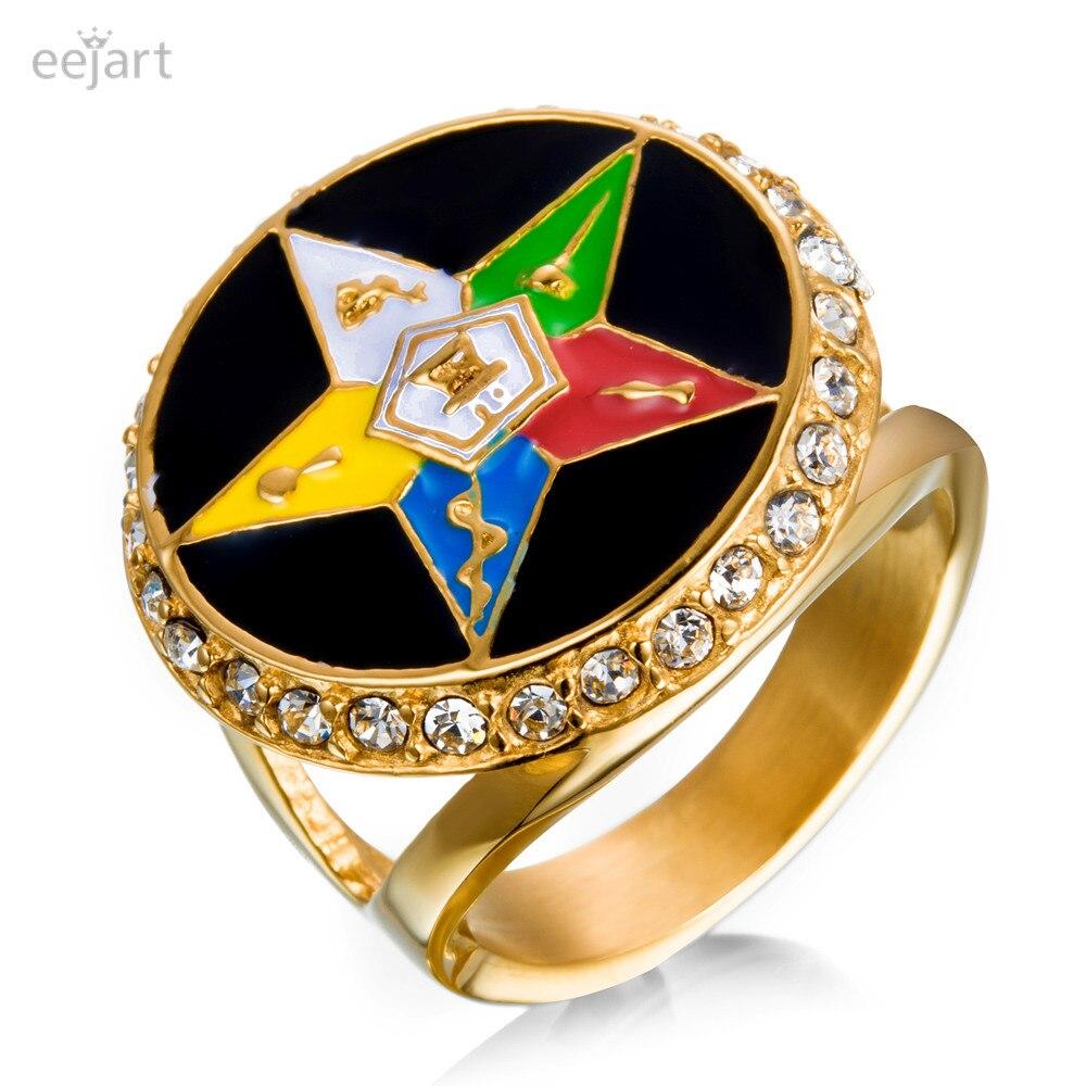 Eejart новый бренд кольцо из нержавеющей стали для мужчин позолота масонских Jewelry заказ Восточная звезда кольцо ...