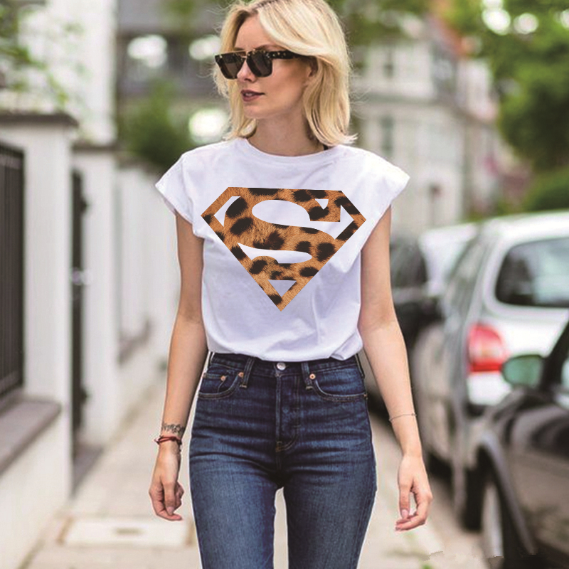 Luslos Superman Printed Leopard Pattern Women T-shirts Ladies Summer Casual Short Sleeve Tops Plus Size Graphic Tees Femme