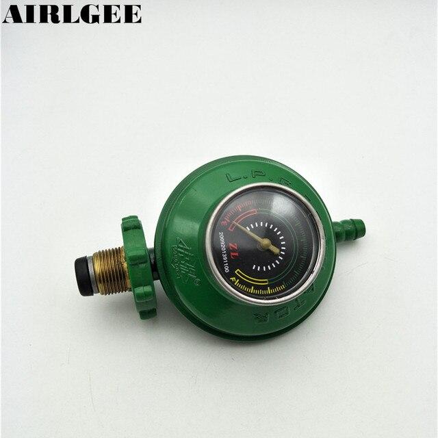 1 Inlet 1 Outlet 1/2PT Thread Liquefied LGP Gas Gauge Pressure Regulator Green