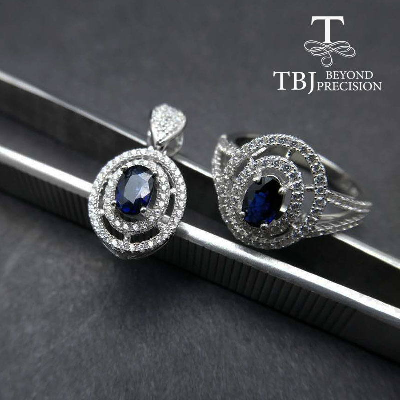 TBJ, sapphire ring and pendant ,natural 1ct up blue sapphire jewelry set in 925 sterling silver gemstone jewelry with gift box osprey рюкзак celeste 29 sapphire blue