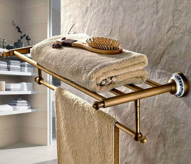 Antique Brass Towel Rack Shelf Holder Bathroom Hotel Wall Mounted Hanger Bar Rail Bath Storage Bathroom Accessories Bba411 aluminum wall mounted square antique brass bath towel rack active bathroom towel holder double towel shelf bathroom accessories
