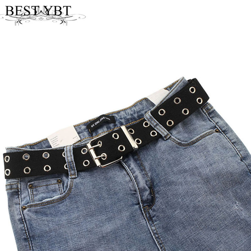 Best YBT Unisex Canvas Belt Alloy Double Row Hole Pin Buckle Belt Street Photo Fashion Lengthening Chic Hollow Belt With Chain