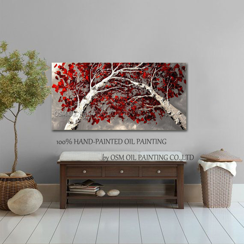 Top Skills Artist 100%Handmade High Quality Abstract Birch Tree Oil Painting On Canvas Handmade Red Leaves Paintings