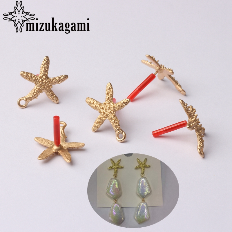 Zinc Alloy Golden Starfish Star Earrings Base Connectors 6pcs/lot For DIY Fashion Drop Earrings Jewelry Making Accessories