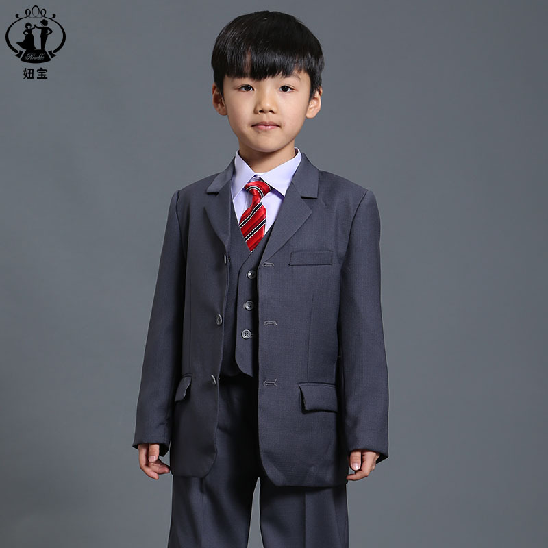 New Fashion costume for boy Grey Boy Blazer for Wedding Baby Boy Suit 3 Piece Coat+Vest+Pant Suits