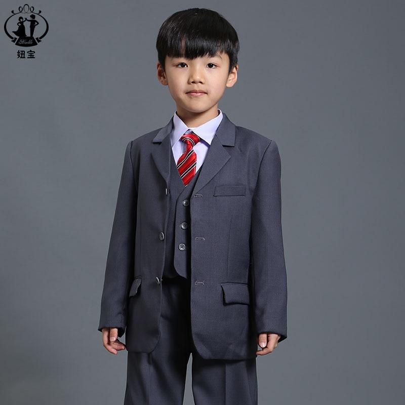 63153ef957da4 Nouveau Mode costume pour garçon Gris Garçon Blazer pour le Mariage Bébé  Garçon costume 3-Pièce Manteau + Gilet + pantalon Costumes