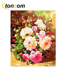 цена RIHE Flower Diy Painting By Numbers Rose Bloom Oil Painting On Canvas Hand Painted Cuadros Decoracion Acrylic Paint Home Art