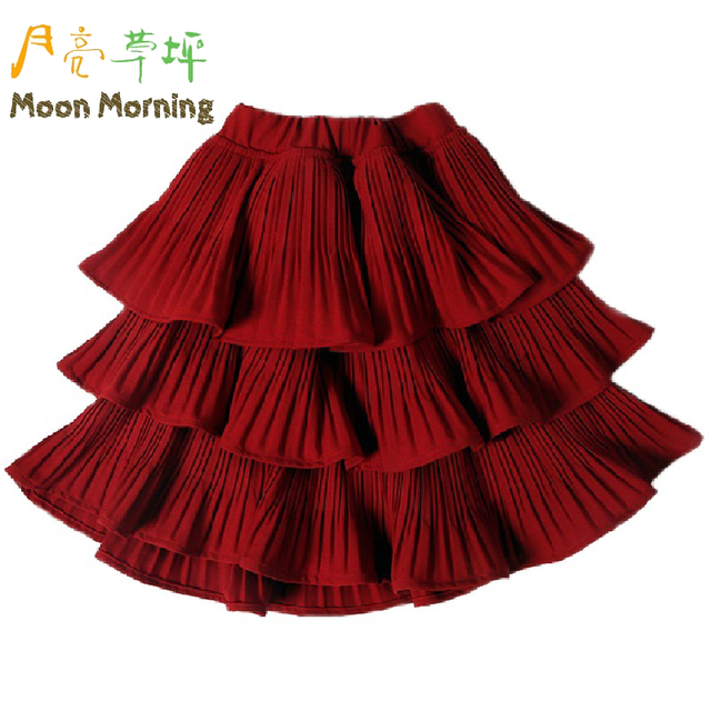 Moon Morning Kids Tiered Skirt 2T~8T Red Solid Mini Children Clothing Summer Ruched Cool Lovely For Party And Wedding Garment