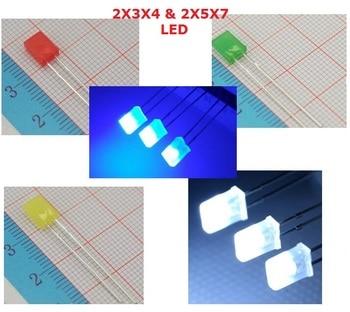 100PC kwadrat 2x3x4 LED biały DC 3V prostokąt LED emitowanie światła lampa diodowa 2*3*4mm ultra jasny żarówka 2*5*7 czerwony zielony niebieski żółty