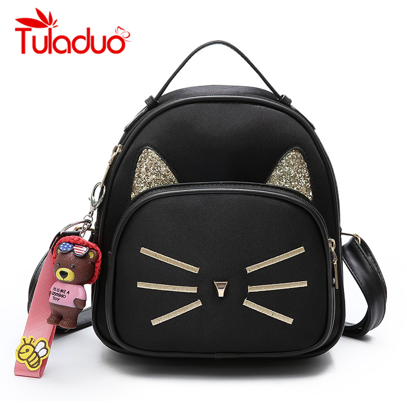 Fashion Women Cat Backpack Back Pack School Backpacks Design PU Leather Shoulder Bag Travel Black Funny Cat Ear Shoulder Bag цена и фото