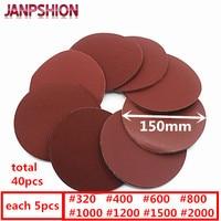 40pc Brushed Back Sandpaper For Sander Velcro Red Round Sanding Paper 6 150mm Grits 320 400