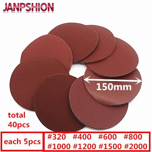 """""""JANPSHION 40pc"""" Šlifuotas raudonas apvalus šlifavimo popieriaus šlifuotas popierius, 6 colių, 150 mm šlifavimo popierius 320/400/600/800/1000/1200/1500/2000"""