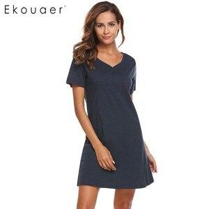 Image 4 - Ekouaer Women Casual Night Dress Sleepwear Cotton V Neck Short Sleeve Solid Nightgown Lounge Dress Female Night Sleeping Dress