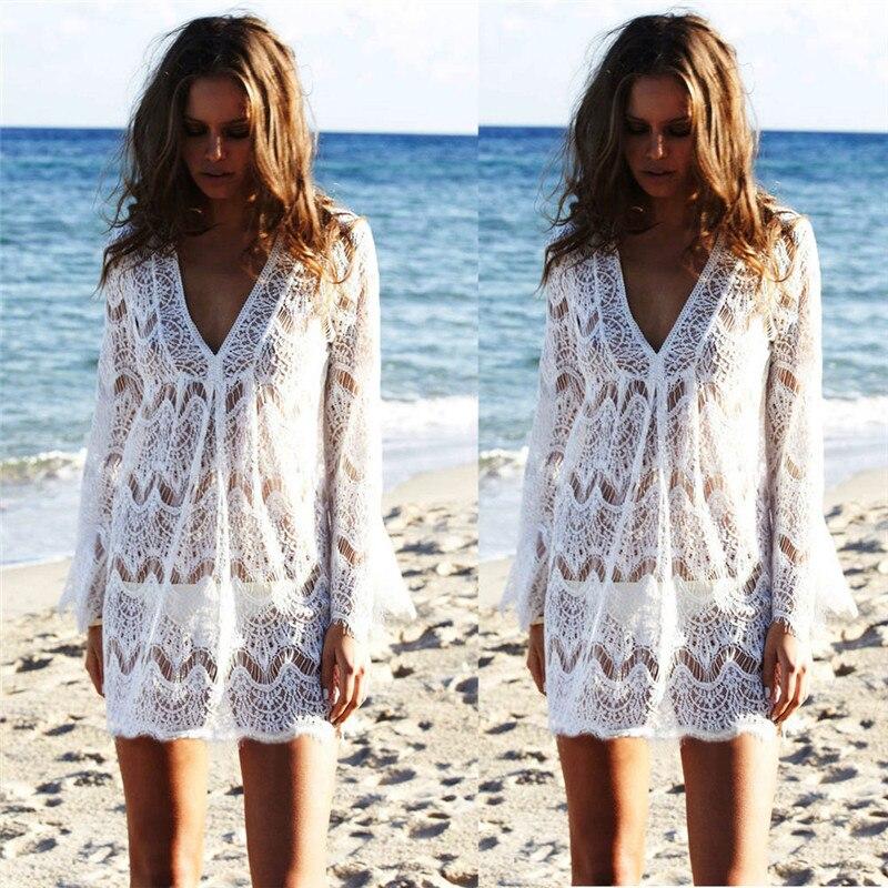 Womens Lace Crochet Bathing Suit Bikini Swimwear Cover Up Beach Dress Hollow Out