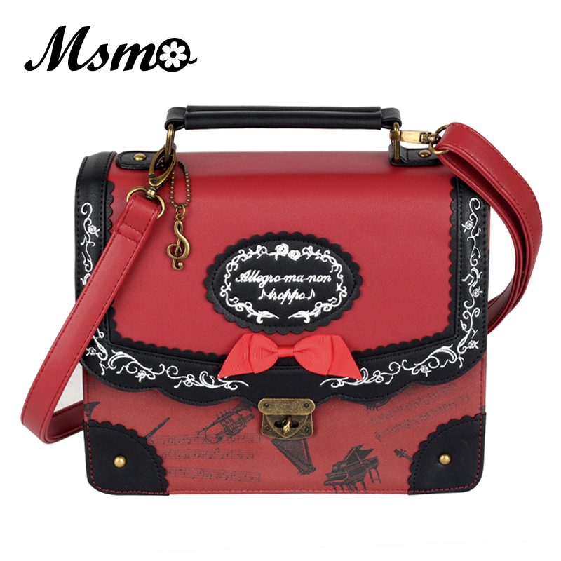 Japanese Style Musical Note Embroidery Backpack Vintage Lolita 3 Ways Shoulder Bag Cute School Bags For