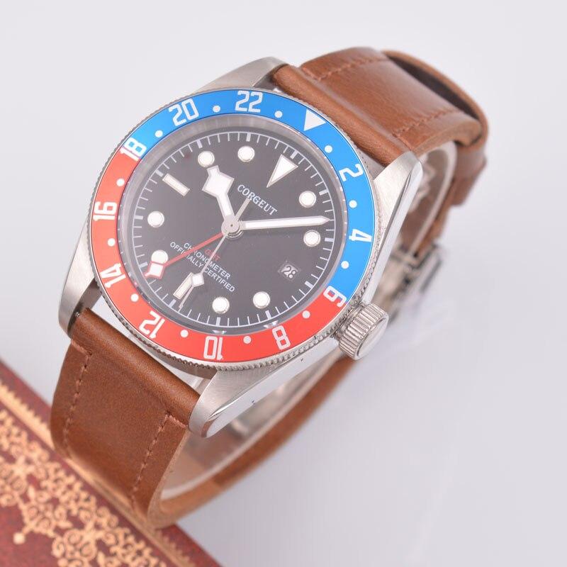 41mm corgeut Men's Automatic Mechanical Watch Red Blue GMT Mechanical Calendar Watch цена