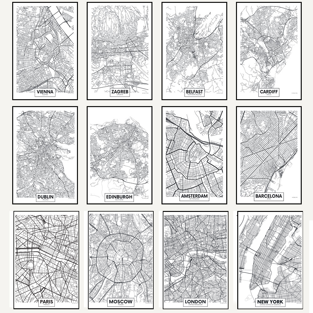 US $2.8 60% OFF WANGART Black White Word Poster City Map Paris London New  York Nordic Print Canvas Painting Wall Picture for Living Home Decor-in ...