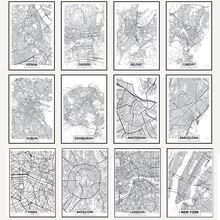 Póster de la palabra WANGART negro blanco Mapa de la ciudad París Londres Nueva York Impresión de estilo nórdico lienzo pintura de la pared imagen para la decoración del hogar