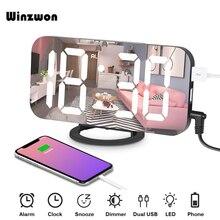 6.5 אינץ מראה LED שעון מעורר נודניק דיגיטלי שעון חדר שינה דימר להתעורר אור עם USB הכפול תשלום יציאת זמן זיכרון פונקציה