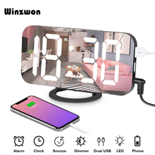 6.5inch Mirror LED Alarm Clock Snooze Digital Clock Bedroom Dimmer Wake Up Light With Dual USB Charge Port Time Memory Function