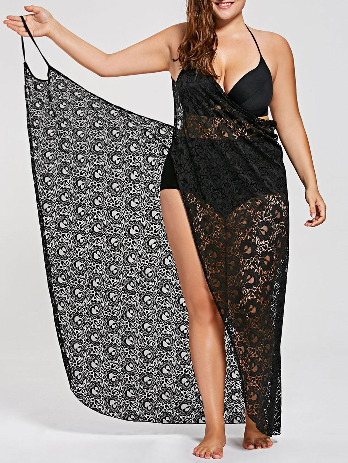 1aff118d06dc Lace Spaghetti Straps Wrap Up Beach Dress  (XL-3XL) – Thick Chick ...