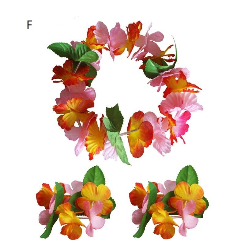 Визуальный сенсорный набор оголовья цветок венок гирлянда браслеты юбки «хула» Гавайский пляж Декор джунгли вечерние принадлежности - Цвет: F
