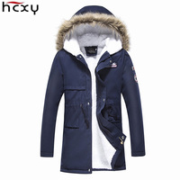 HCXY Brand Clothing Men S Winter Thick Parkas Long Style Loose Fit Hooded Jacker For Older