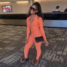 2019 Summer Strip Orange Playsuit Womens Workout Jumpsuit Long Sleeve V-Deep Overalls Bodysuit