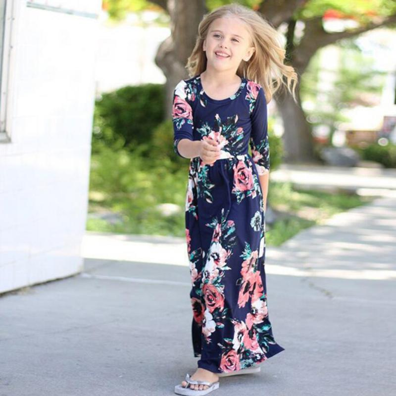 Summer Girl Long Dress Bohemian Style For Girls Beach Tunic Floral Autumn Maxi Dresses Kids Party