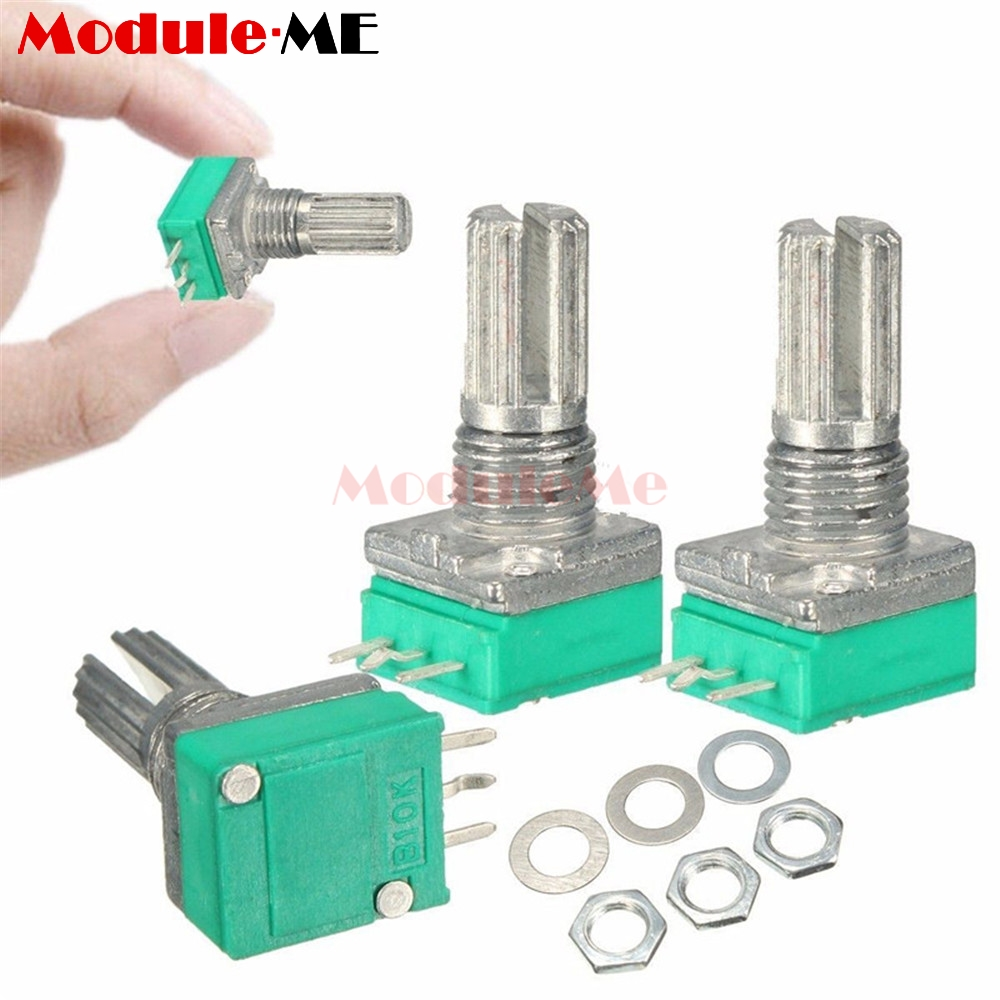 цена на 5Pcs 6mm B10K 3Pin Single Linear Rotary Potentiometer 15mm Knurled Shaft Potentiometers 10K Ohm With Nuts And Washers