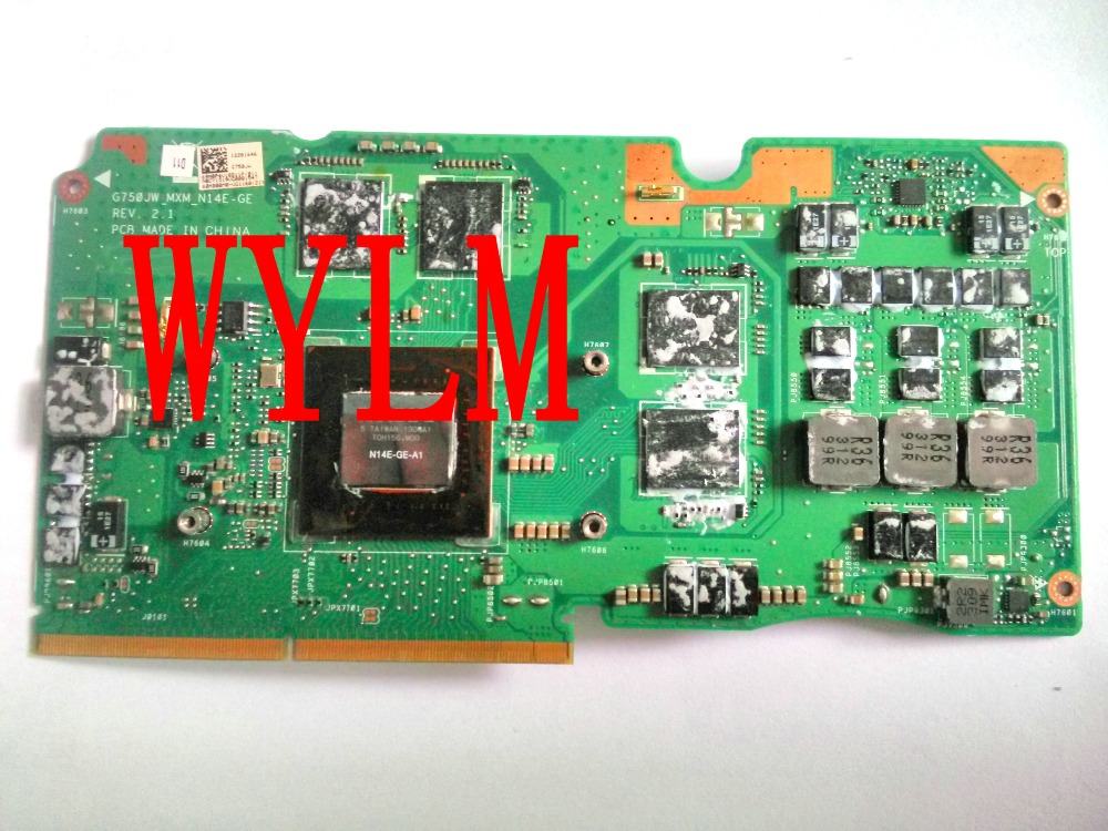 free shipping G750JW GTX765M DDR5 2G VGA graphics card board For ASUS G750JW N14E-GE-A1 Laptopo 100% Tested Working new original laptop graphics video card board a8 atim vga board 08g28ar0120i nezvg1000 a11 216qmaka14fg 100% tested working