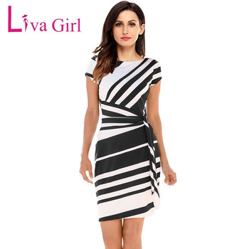 Liva Girl Women 2018 Autumn Casual Pencil Dress Party Red/Black/Navy White Striped Dresses Belted Bow Elegant Office Work Dress