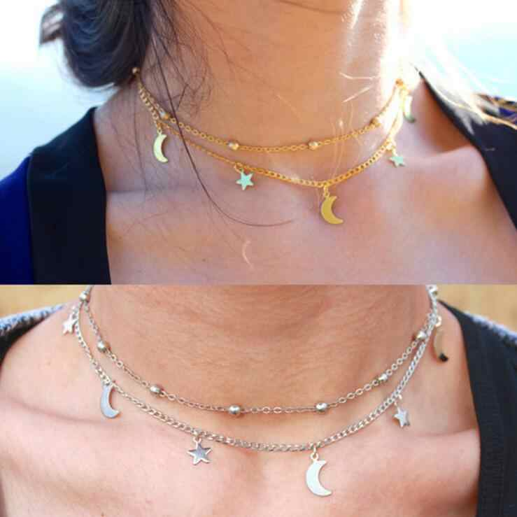 Necklaces For Women Girls Fashion Jewelry Collar Trend Summer Gift Simple Gold Silver Sexy Chain Star Moon Necklace Set