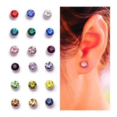 6MM 10 colors magnet stud Earrings for men women Fashion Spring color cub zirconia crystal earrings ears clip no pierced