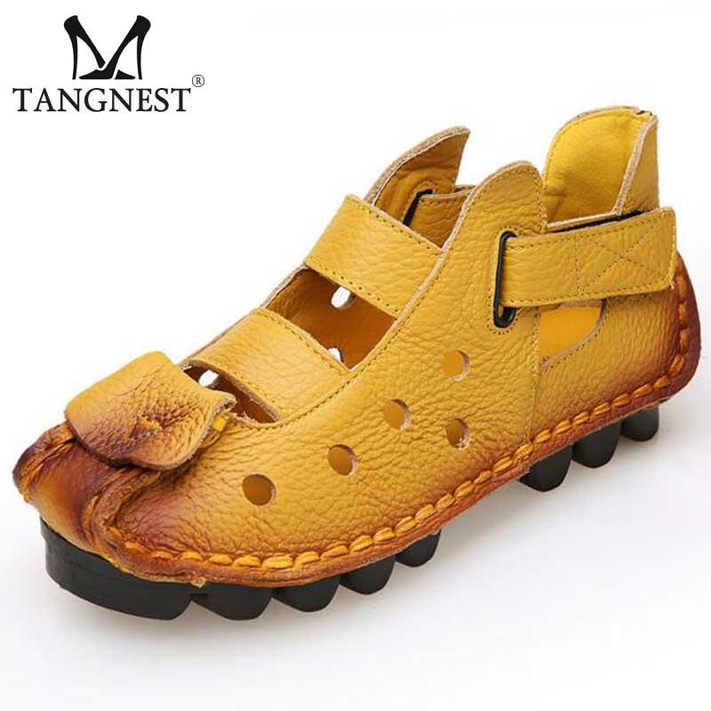 Sandalias de cuero genuino de las mujeres 2017 Verano Pisos - Zapatos de mujer