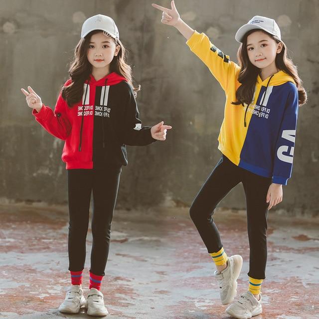 Conjuntos de Roupas crianças Primavera Queda 2019 Meninas Adolescentes Agasalho Moletom Com Capuz Roupas Set para Meninas Grandes Ternos dos Esportes das Crianças nova