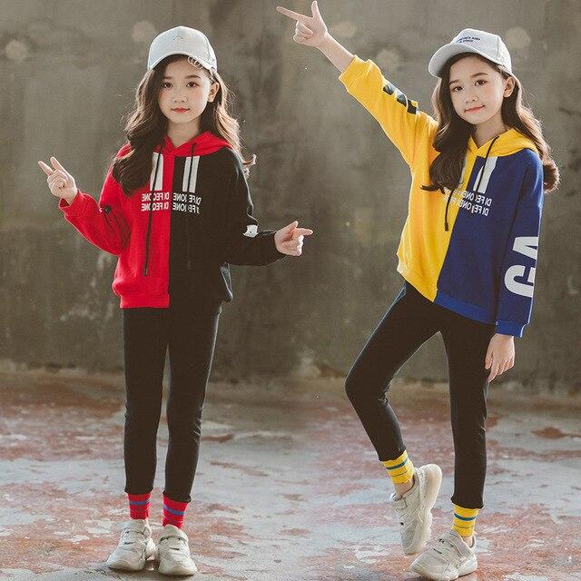 Kinder Kleidung Sets Frühling Herbst 2019 Teen Mädchen Trainingsanzug Mit Kapuze Sweatshirt Kleidung Set für Große Mädchen kinder Sport Anzüge neue