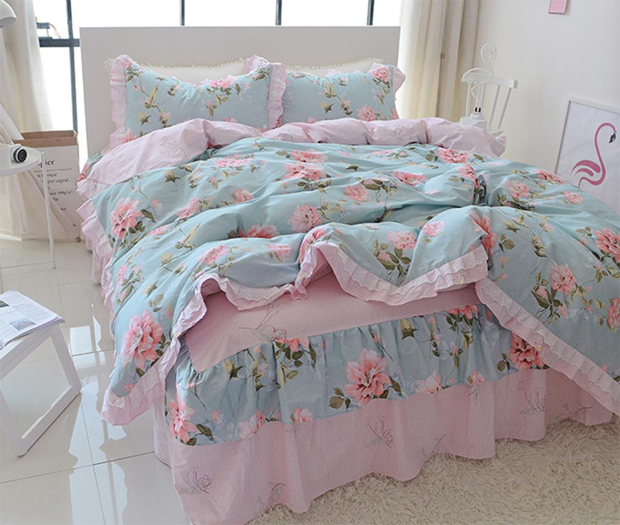 Sweet cute floral single double cotton bedding set teen girl,twin full queen king home textile bed skirt duvet cover pillow case