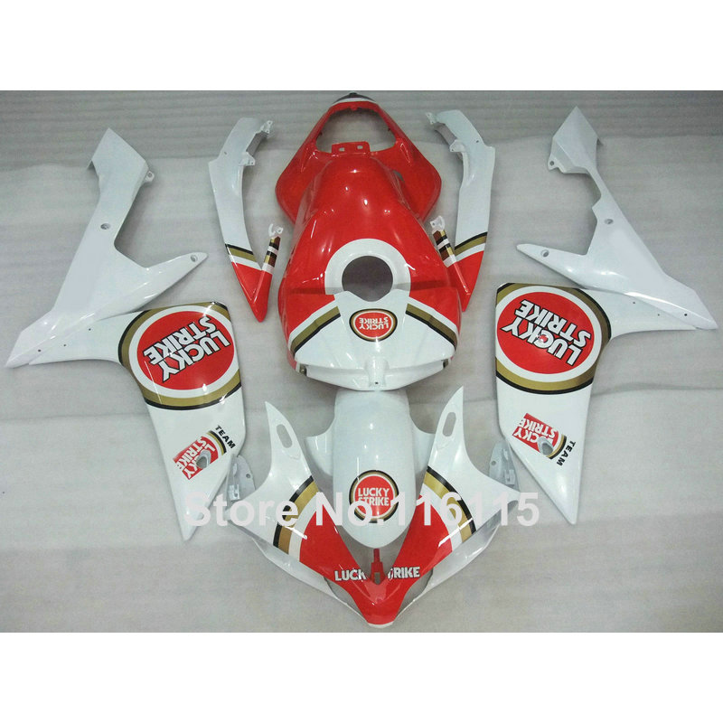 hot sales yzf r1 2007 2008 fairing for yamaha yzf r1 07 08 race bike yamalube bodyworks motorcycle fairings injection molding Injection molding High quality fairing kit for YAMAHA YZF R1 2007 2008 YZF-R1 07 08 white red LUCKY STRIKE fairings set OX17